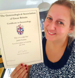 Jude with certificate of gemmology