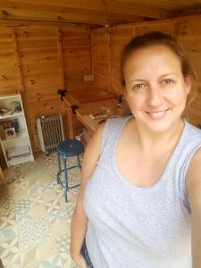 Jude in her workshop