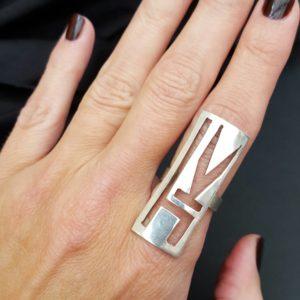JK initials ring