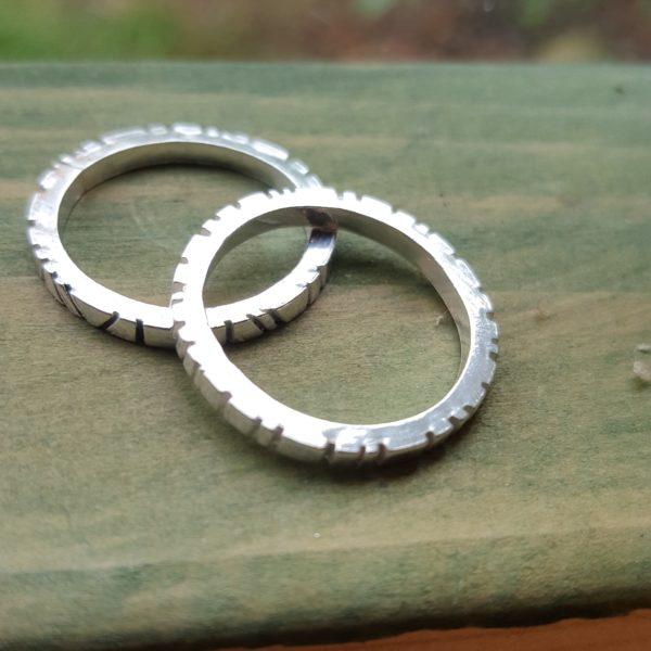 Handmade silver cog design rings