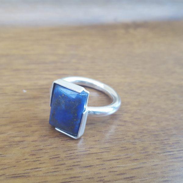 Silver lapis lazuli statement ring