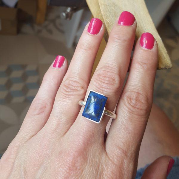 Handmade silver lapis lazuli statement ring
