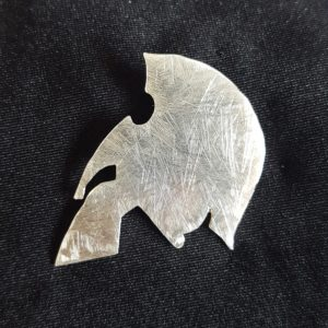 Spartan helmet lapel pin badge
