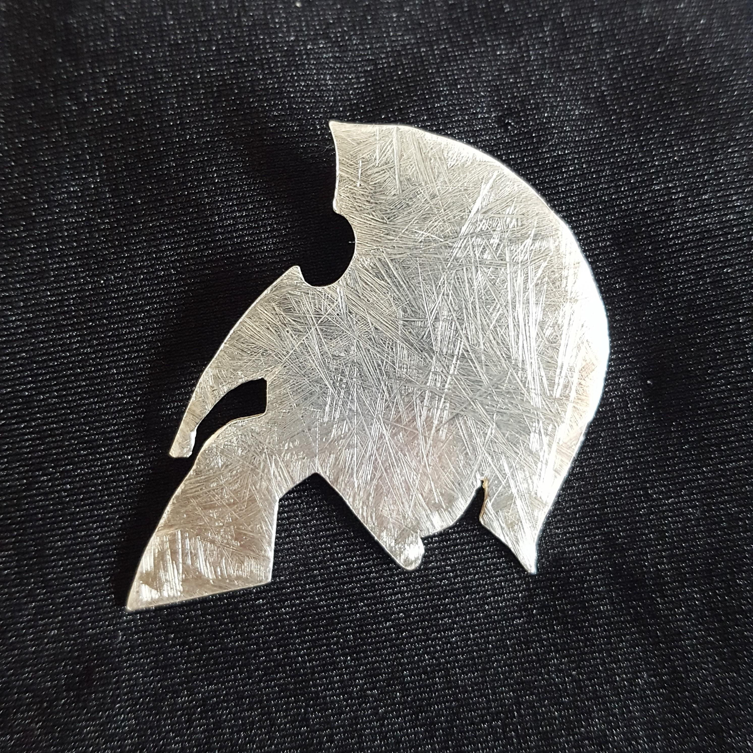 Spartan helmet lapel pin badge