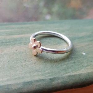 Rose gold flower and silver ring
