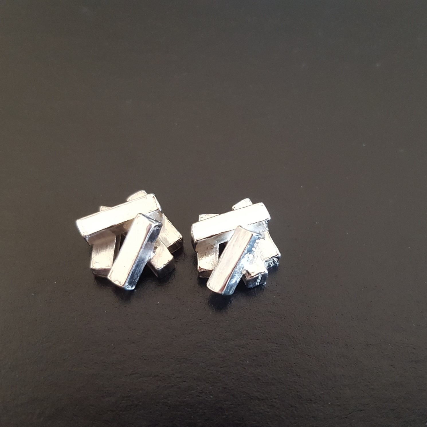 Tectonic cluster earrings