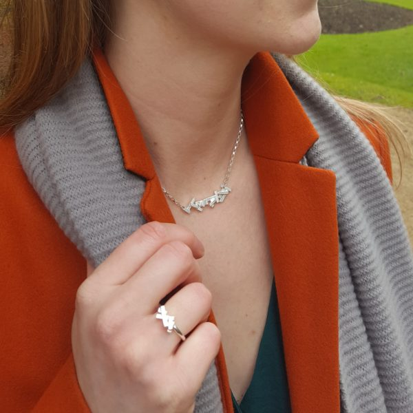 Tectonic single cluster necklace and ring