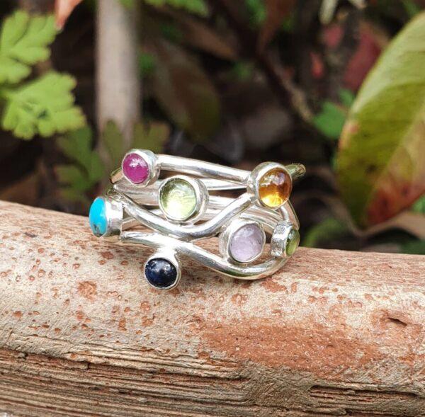 Gemstone wedding ring