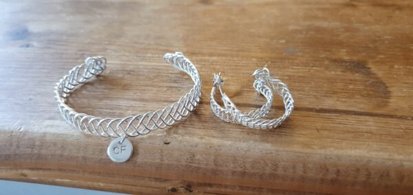 Celtic cuff bangle with initial charm and matching earrings
