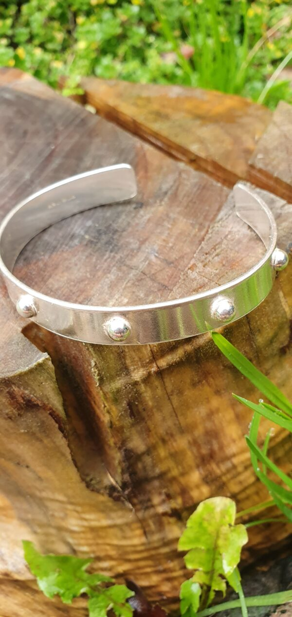 Sterling silver cuff bangle with stud detail