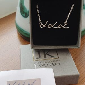 Personalised silver Kisses necklace